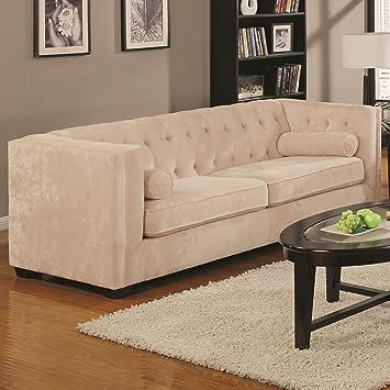 Coaster Alexis Collection Sofa Couch In Almond Microvelvet