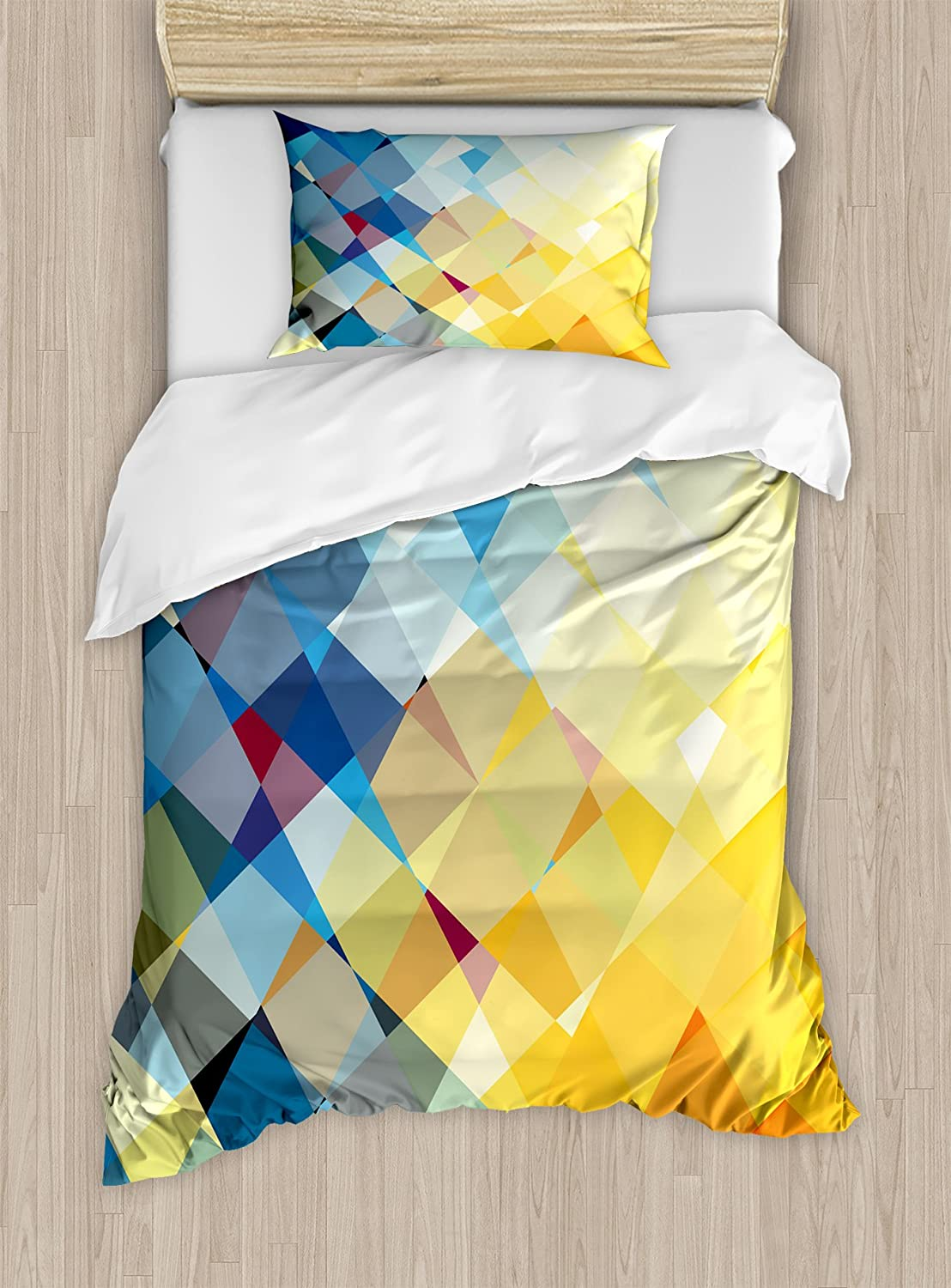 Ambesonne Yellow and Blue Duvet Cover Set Twin Size, Ombre Pattern in Factal Squares Broken Mosaic Form Modern Artistic, Decorative 2 Piece Bedding Set with 1 Pillow Sham, Orange Yellow