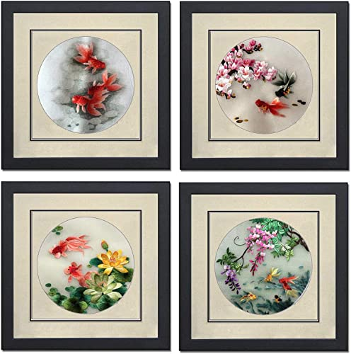Silk Art 100 Handmade Embroidery Framed 12X12 inch, Mulitiple Red Carp Playing Together Painting Gift Oriental Asian Wall Art Decor Artwork SilkArt039