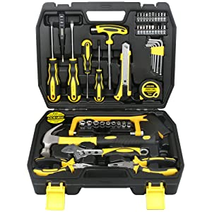 DOWELL 49 Piece Tool Set Home Repair Hand Tool Kit with Plastic Tool Box Storage Case