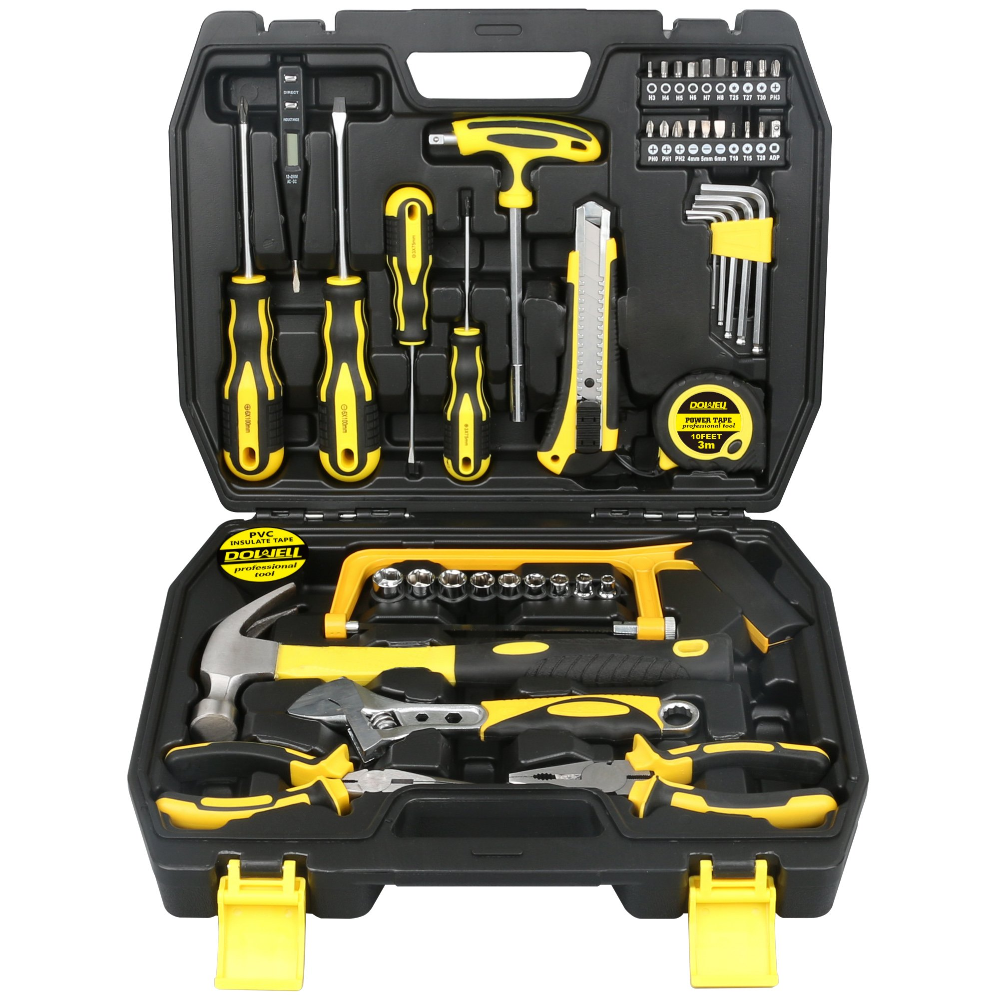 DOWELL 48 PCS Tool Set,Home Repair Hand Tool Kit with Plastic Tool box Storage Case