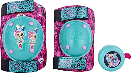L.O.L Surprise! Signature Series Protective Knee Pads & Elbow Pads for Kids Bike with Bonus Bell, for Ages 5 to 8