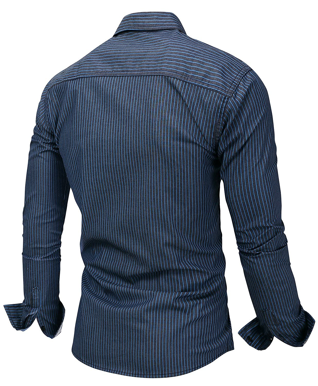 HULANG Mens Big and Tall Button Down Work Shirts Long Sleeve Striped