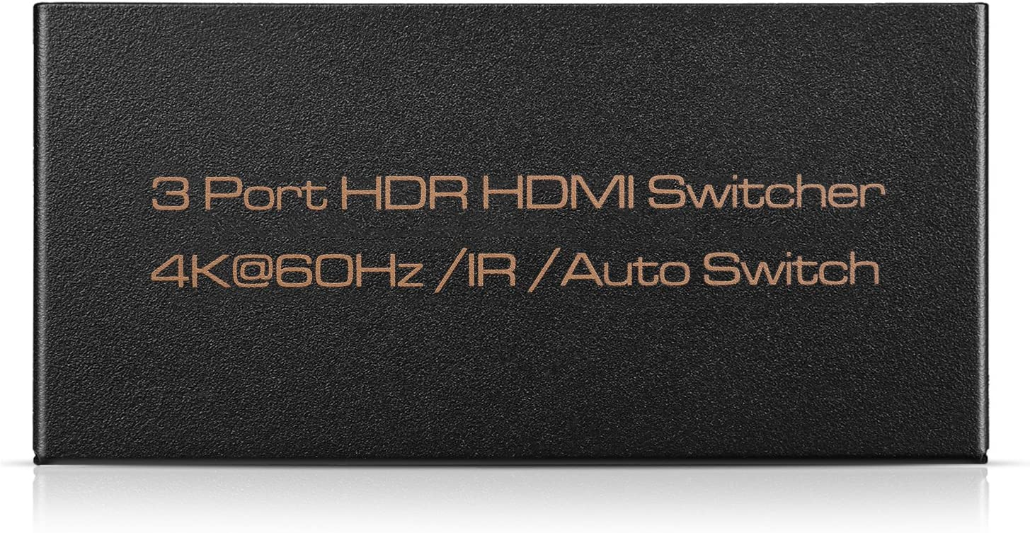 HDCP 2.2 High-Speed HDMI Video Audio Automatic Switching Hub 1080P HDR 3D TNP 3 Port 3 in 1 out HDMI Switch Selector Box with Remote Control Supports 4K 60Hz Ultra HD UHD 4Kx2K @ 60Hz // 30Hz