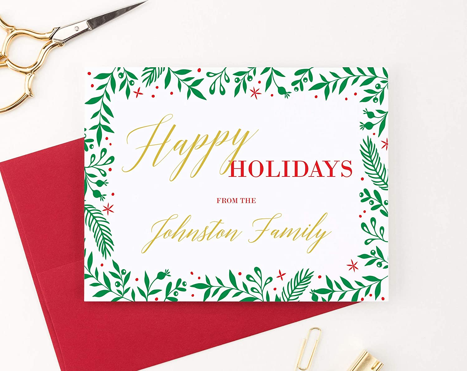 FOLDED, Blank Inside Personalized Happy Holidays Greeting Cards with Envelopes Your choice of Greeting Custom Mistletoe Family Christmas Cards Quantity and Envelope Color