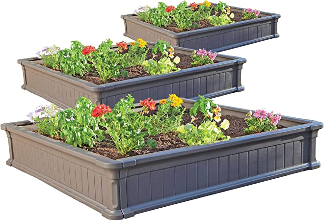 Cedar Elevated Garden Kit 4x3 Tiered Raised Garden Kit with Watering System