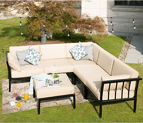 PatioFestival Conversation Set Outdoor Metal Furniture 6 Seat All-Weather Sectional Sofa Set