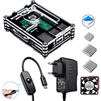 Für Raspberry Pi 3 b+ Gehäuse + 5V 2.5A Netzteil mit Ein/aus Schalter + Lüfter + 3X Aluminium Kühlkörper Kompatibel mit Raspberry Pi 3 2 Model b+ b Case (Raspberry Pi Board Nicht Enthalten)