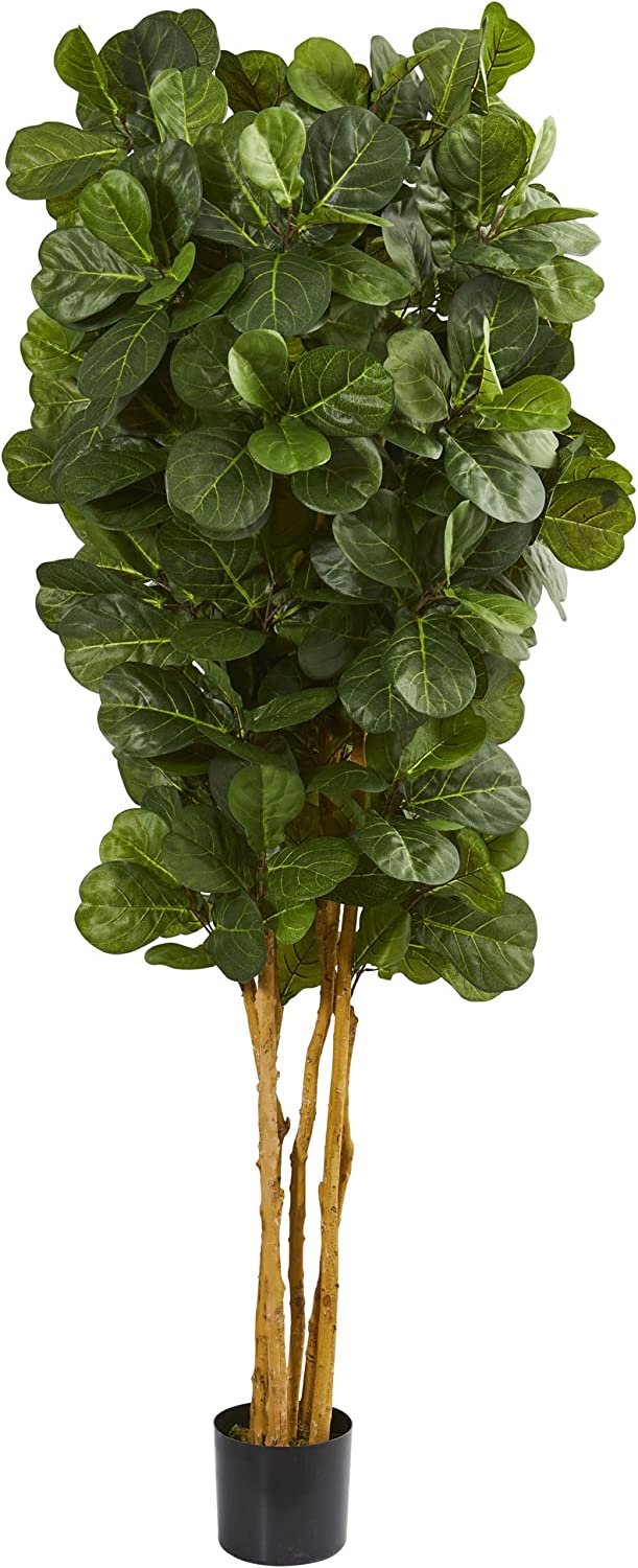 Nearly Natural 7' Fiddle Leaf Fig Artificial Tree, Green