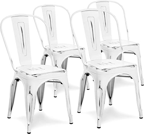 Choice Products Metal Industrial Distressed Bistro Chairs