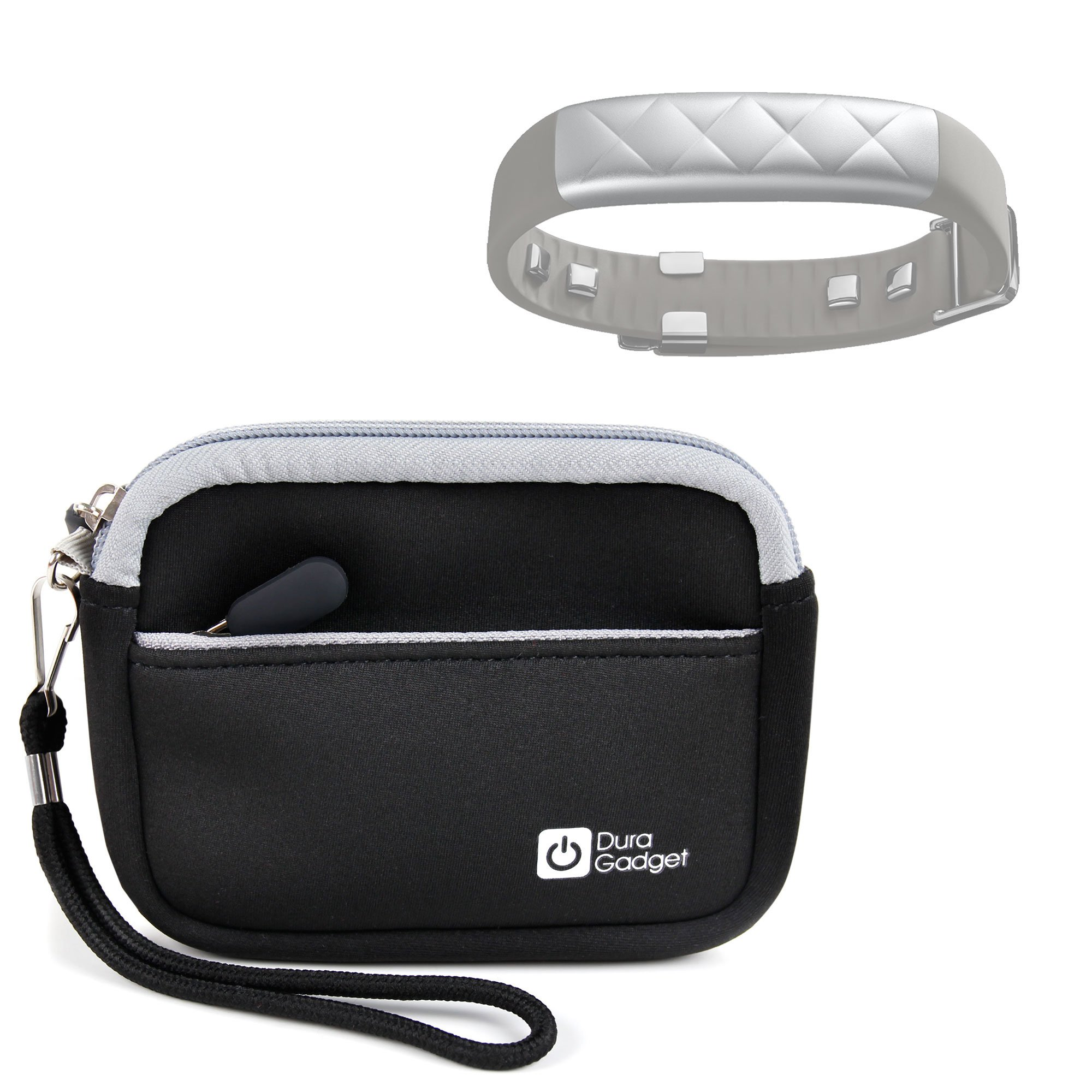 DURAGADGET Premium Quality Protective Neoprene Travel Case/Pouch with Handy Wrist Strap & Additional Storage - Compatible with The Jawbone UP2 and UP3 Wearables