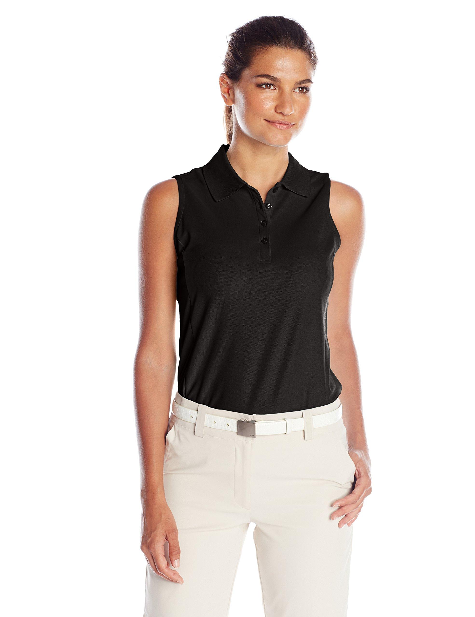 Greg Norman Women's Protek Micro Pique Sleeveless Polo, Black, X-Small