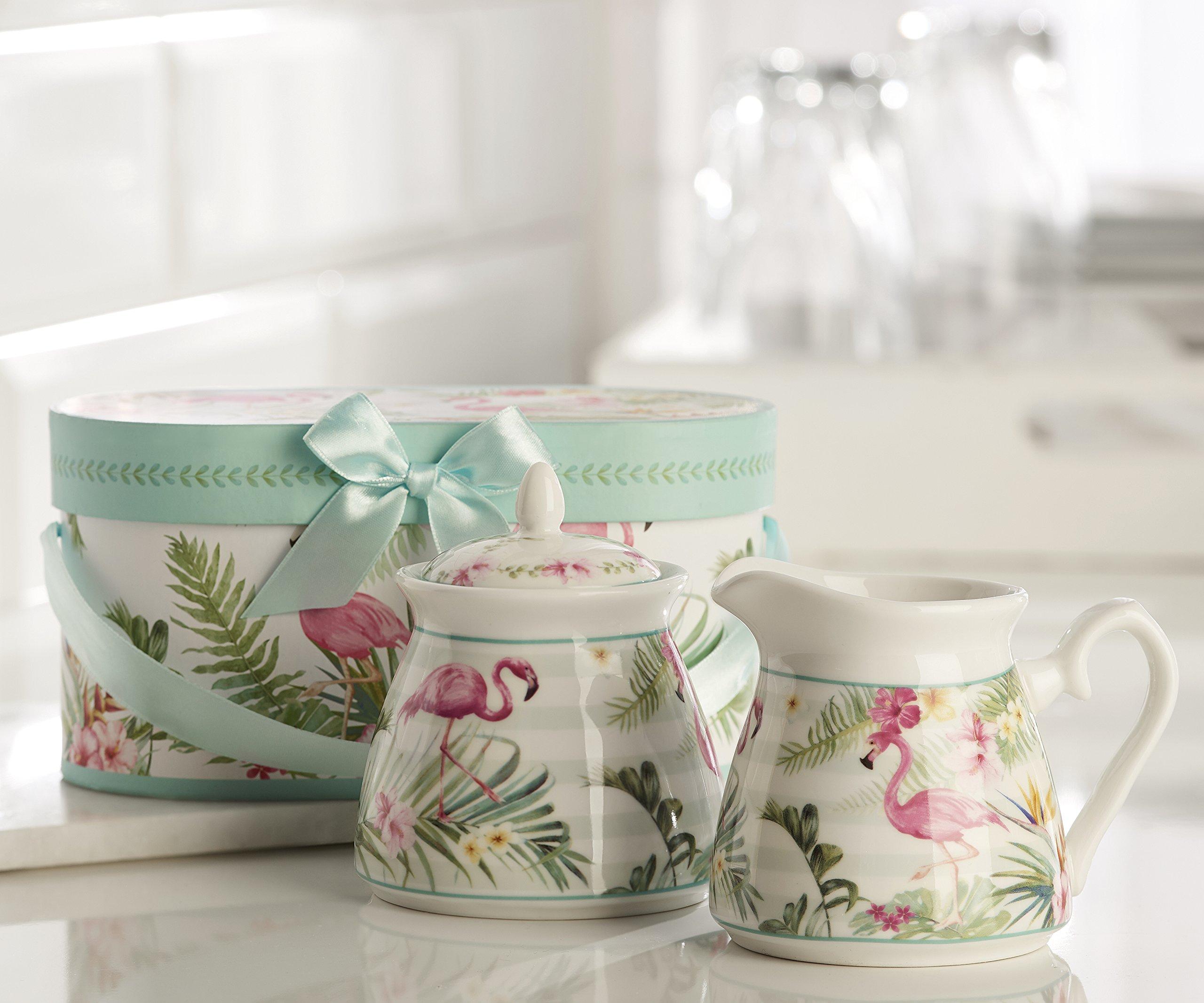 Giftcraft Flamingo Design Cream and Sugar Set in Gift Box