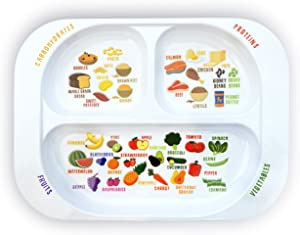 New: Kid's Healthy Learning Plate | Divided Portion Control for Toddlers & Children | Learn Nutrition & Food Groups | Colorful Sections for Fussy Eaters | Child-Friendly Melamine, Dishwasher-Safe