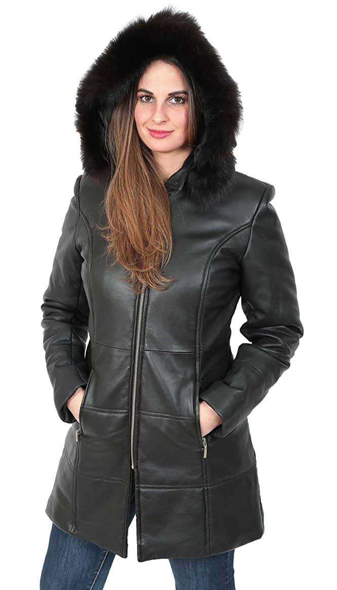 Womens Quilted Parka Leather Coat 3/4 Long Fitted Padded With Hood ...
