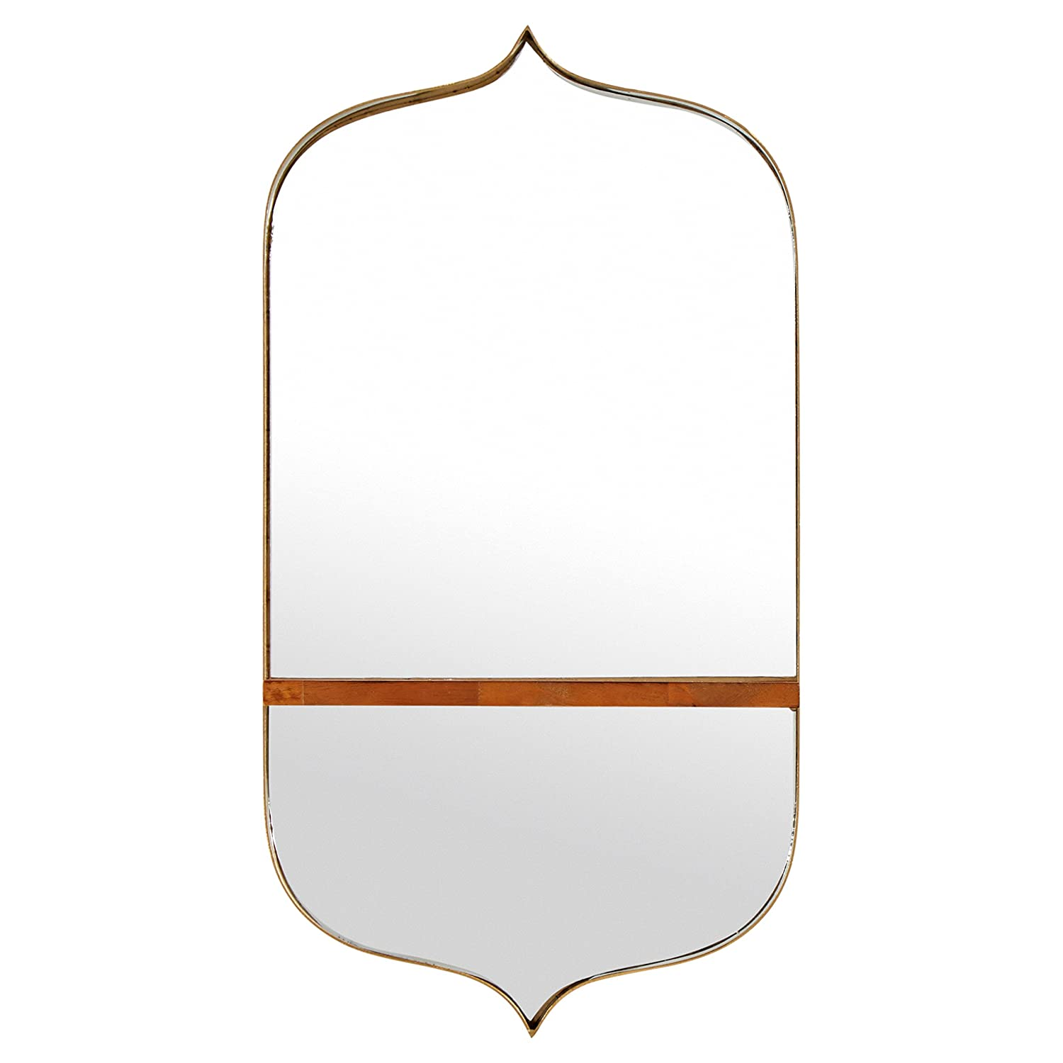 Rivet Modern Curved Iron Mirror with Wood Shelf, 24H, Gold Finish 24H L166006
