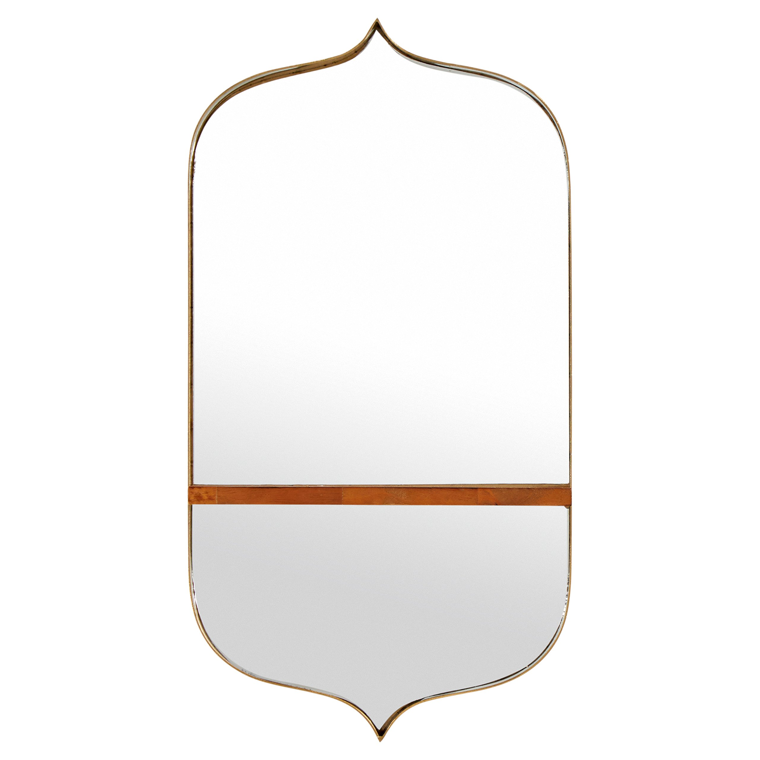 Rivet Modern Curved Iron Mirror with Wood Shelf, 24''H, Gold Finish