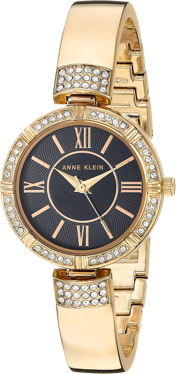 Anne Klein Women's Swarovski Crystal Accented Watch and Bracelet Set Gold-Tone and Black