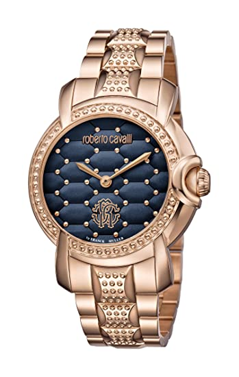 Roberto Cavalli mujer rv1l019 m0136 Rose-Gold, esfera azul reloj de pulsera de acero