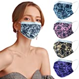 Disposable Face Masks for Women and Men, Breathable 3- Ply Face Mask with Designs, Colorful Cute Lace Fashion Pattern, Adjust