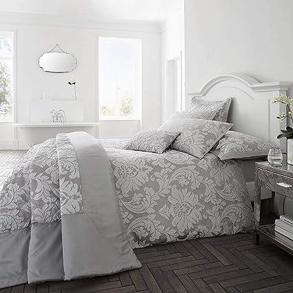 Copripiumino Elegante.Happy Linen Company Luxury Jacquard Floral Damask Flock Slate Grey