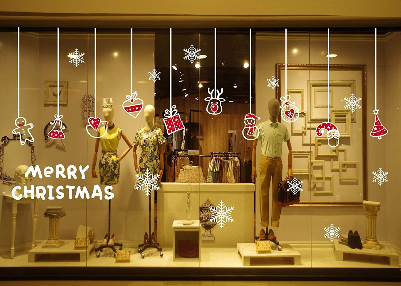 heekpek Statisches PVC Weihnachts dekoration Entfernbare Wandaufkleber Wandaufkleber Klassenzimmershop Glasdekoration Weihnachtsanhänger Aufkleber