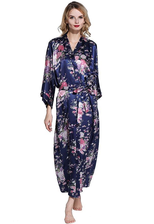 ArtiDeco Kimono Floral Largo Bata Novia Kimono de Seda 1920s Ropa de Dormir Despedida de Soletera Túnica Larga 53