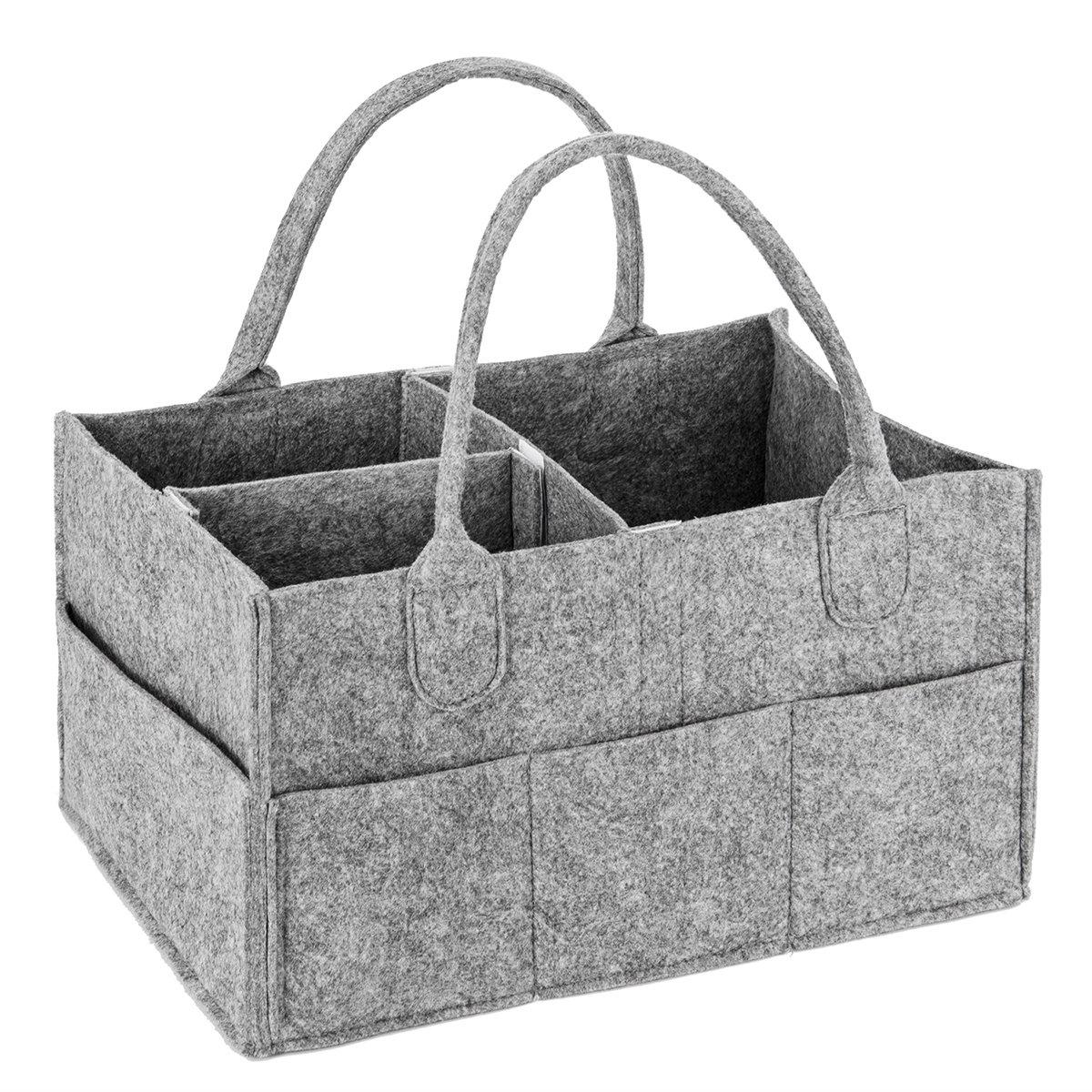 Bébé Diaper Caddy Grande Organiseur Portable pour couches Jouets et lingettes indispensables de registre de naissance–33x 22, 9x 17, 8cm par BB Hapeayou Feutre (Gris)