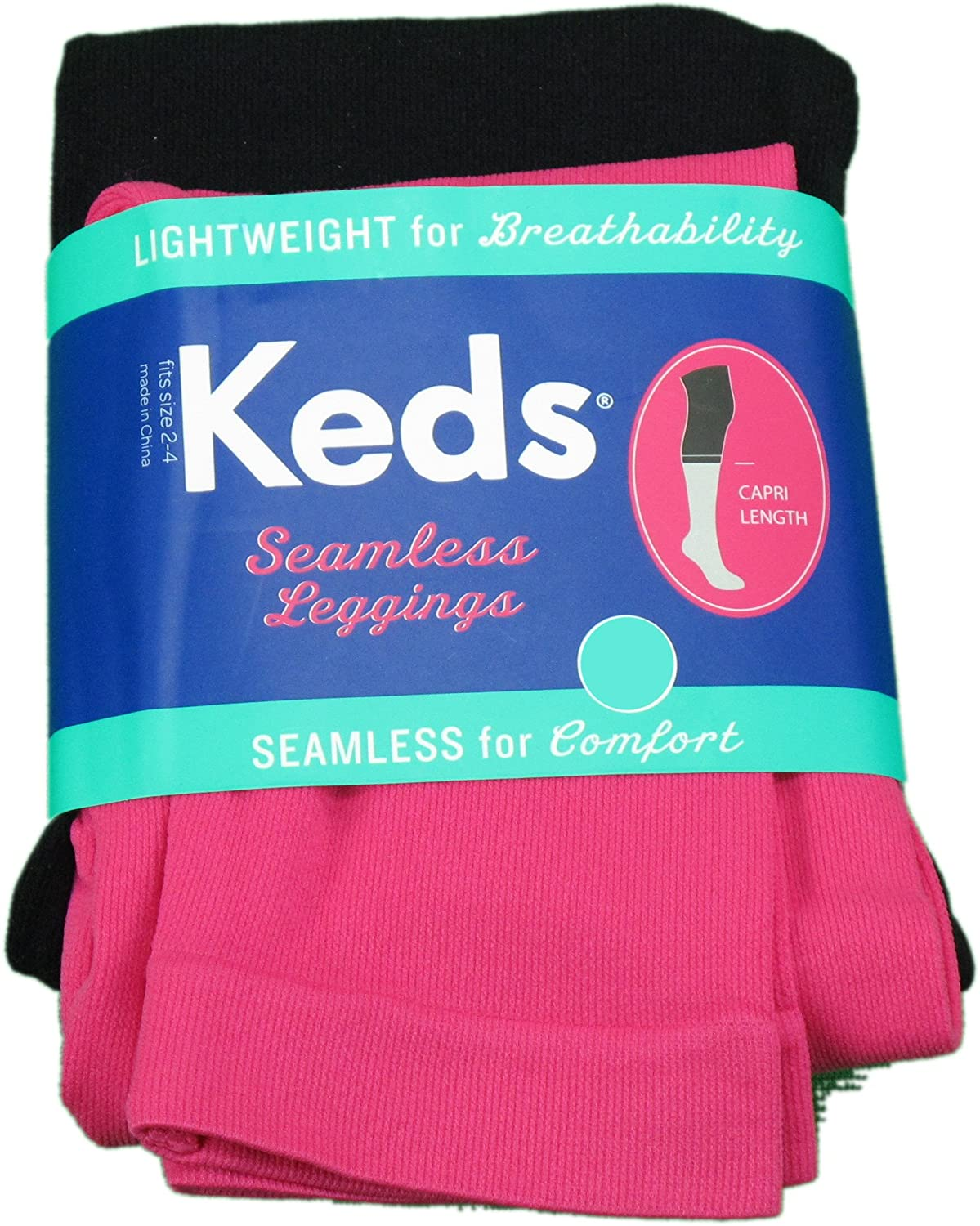 Keds 2-PK Girls Lightweight Capri Length Seamless Leggings Pink//Black