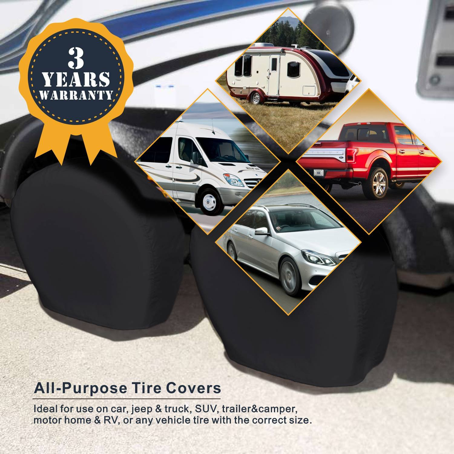 Explore Land Tire Cover 2 Pack For RV motorhome camper travel trailer truck Jeep SUV Tough Vinyl Wheel Protector Universal Fits Tire Diameters 29-31.75 inch Black