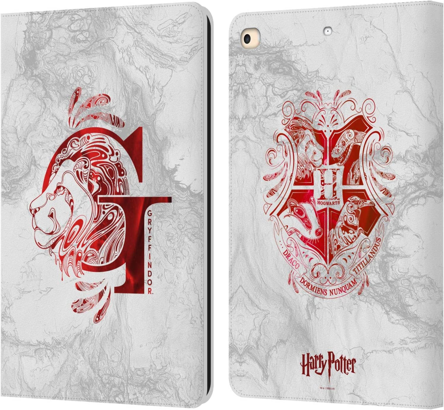 Head Case Designs Officially Licensed Harry Potter Gryffindor Aguamenti Deathly Hallows IX Leather Book Wallet Case Cover Compatible with Apple iPad 9.7 2017 / iPad 9.7 2018