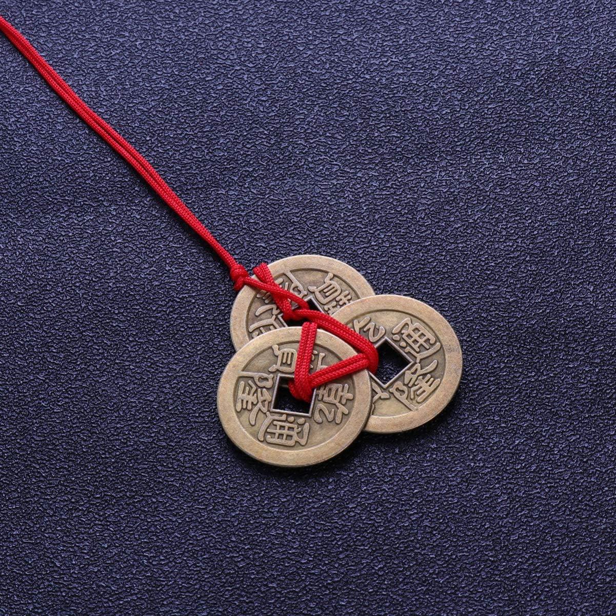 BESPORTBLE 10 Pcs Chinois Fortune Pi/èces Vintage Feng Shui Cuivre Argent Pendentifs avec Cha/îne Rouge pour DIY Richesse Et Succ/ès Accessoires