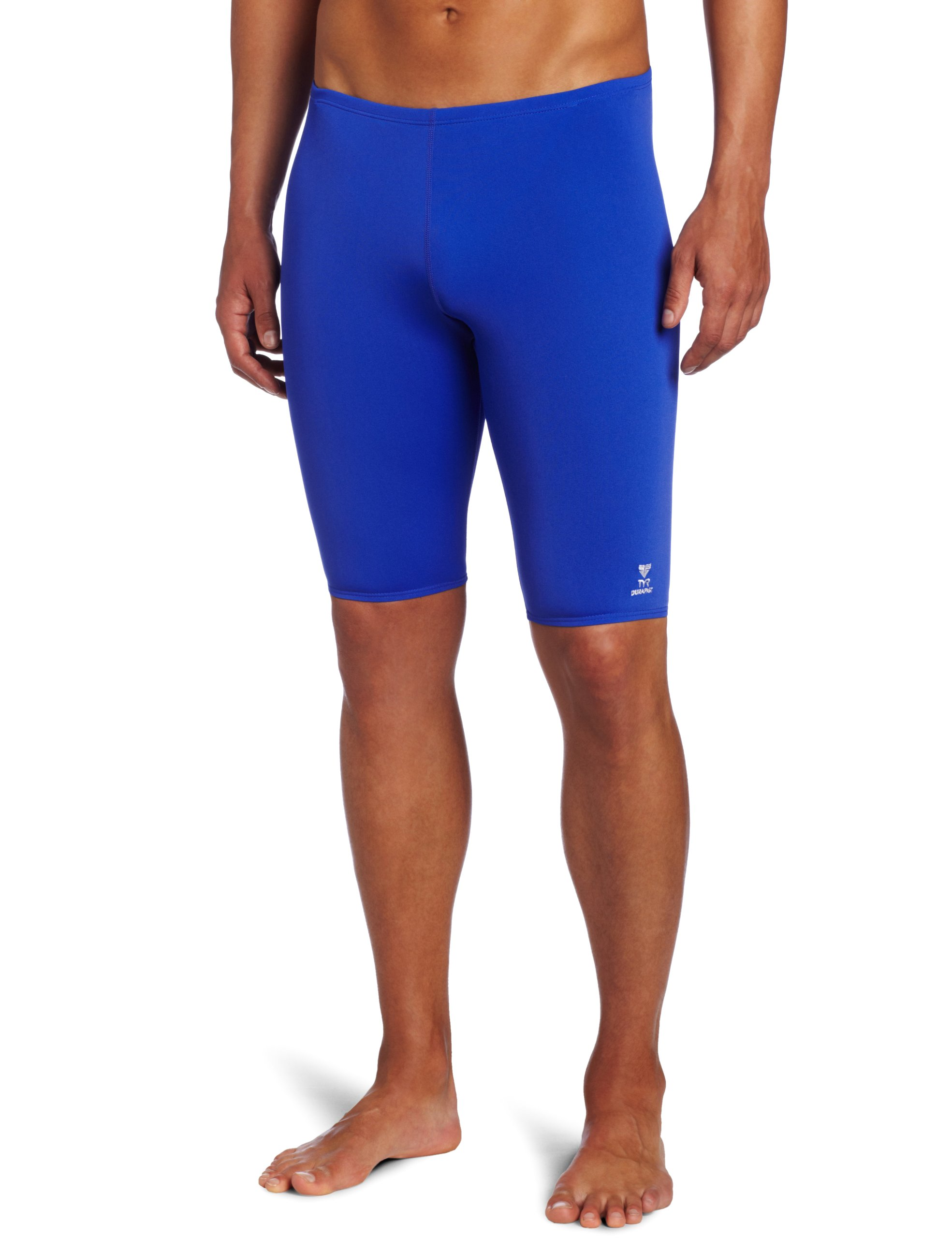 TYR Men's Solid Durafast Jammer Swim Suit (Royal, 34)