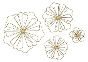 Bellaa 23271 Flower Metal Wall Decor Nature Floral Home Art Set of 4