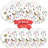 36 Inches Balloons with Confetti - 10 Pack Jumbo Extra Large Balloons Transparent Latex Filled with Multicolored Glitter Conf