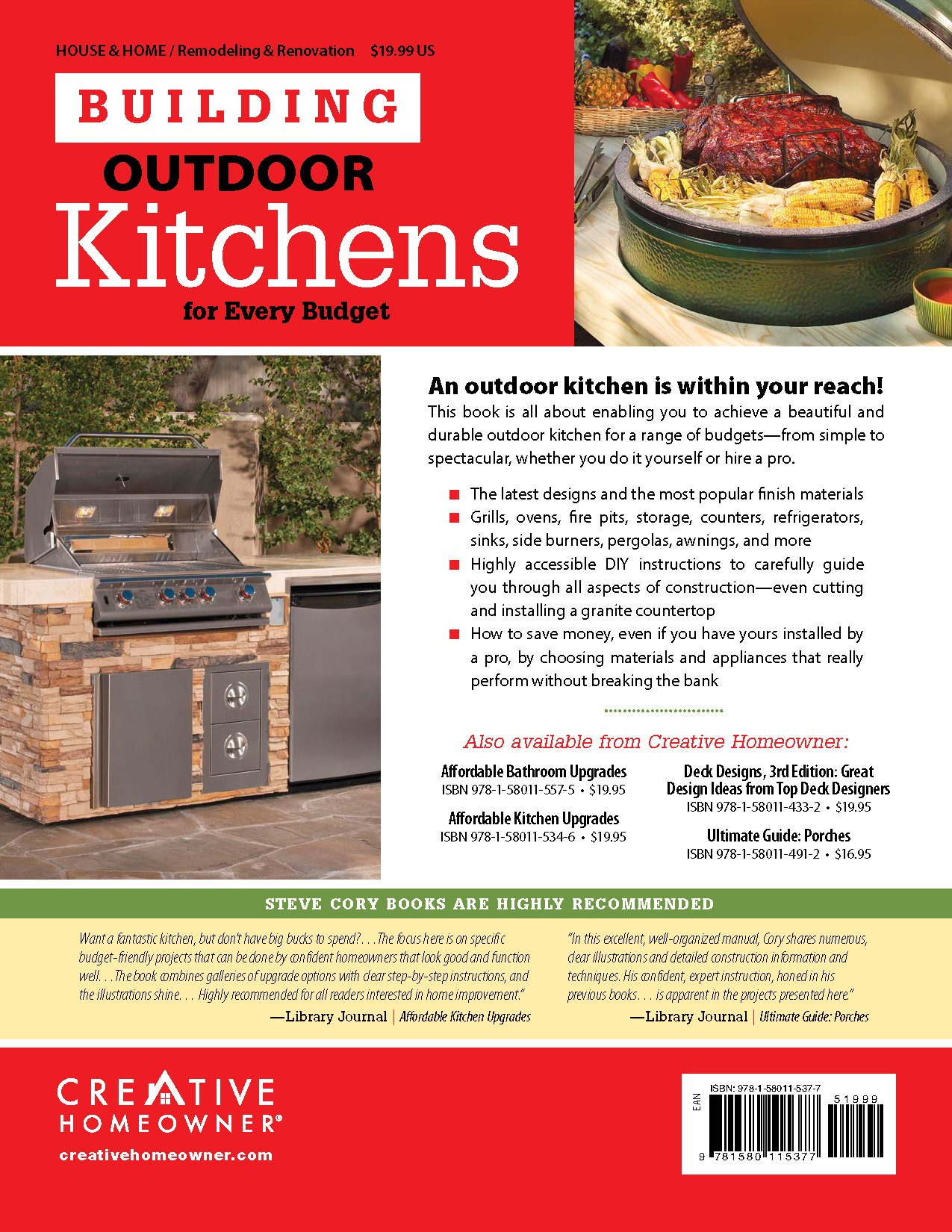 Building outdoor kitchens for every budget home improvement steve building outdoor kitchens for every budget home improvement steve cory home improvement kitchen how to diane slavik 9781580115377 amazon books solutioingenieria Image collections