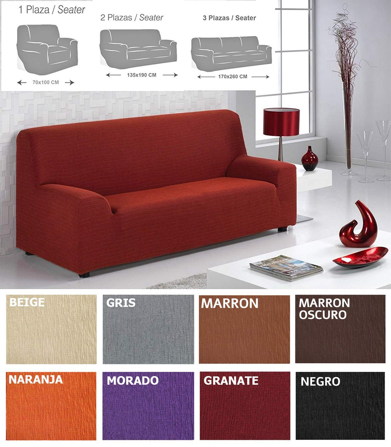 MercuryTextil Fundas de Sofas elasticas y adapatable, Funda Sofa 1,2,3 plazas Sofa Clic (Granate, 2PLAZAS 135-190CM)