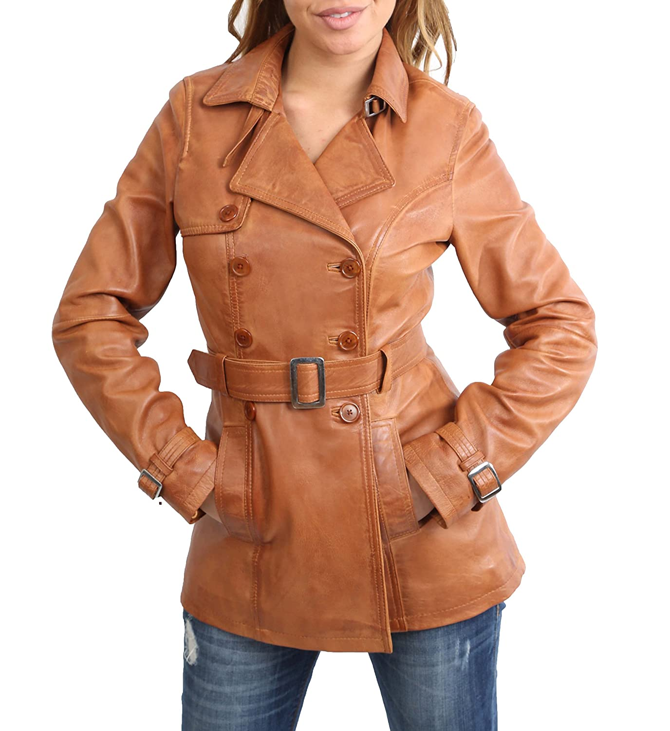 Ladies Genuine Leather Jacket Womens Double Breasted Trench Coat Olivia Tan A1 FASHION GOODS