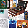 MEEDEN Deluxe Wood Box Art Set, 215-Piece Drawing Supplies Kit with Crayons, Oil Pastels, Colored Pencils, Paints, Pads, Painting Supply for Kids, Teens and Children