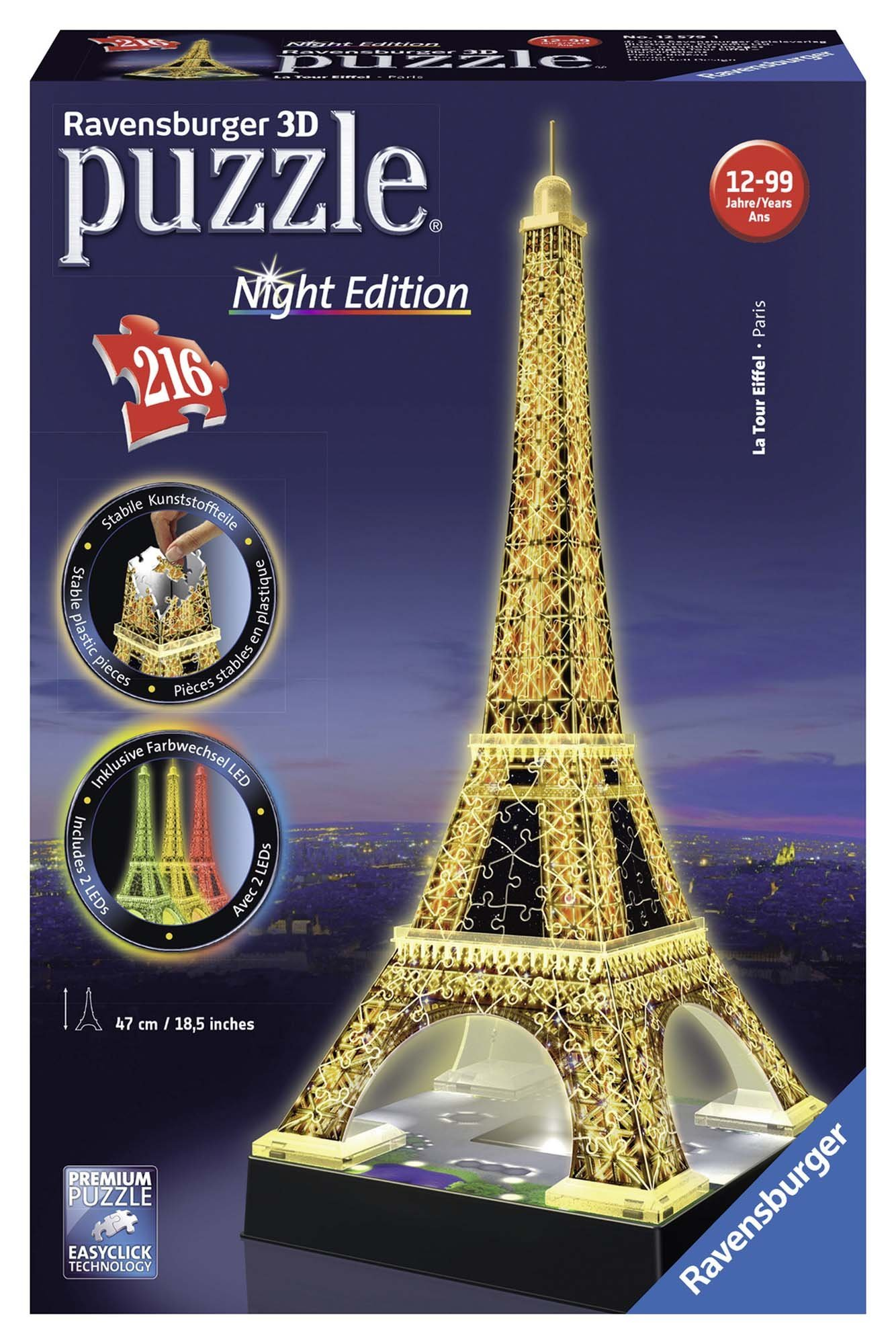 Ravensburger Eiffel Tower - Night Edition - 216 Piece 3D Jigsaw Puzzle for Kids and Adults - Easy Click Technology Means Pieces Fit Together Perfectly by Ravensburger