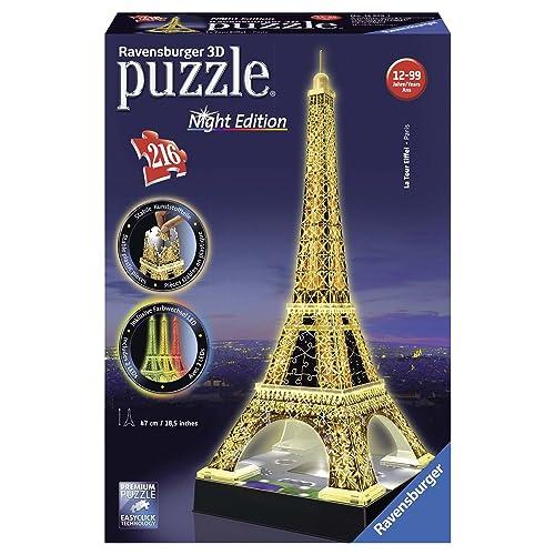 Ravensburger - 12579 - Puzzle 3D Building - 216 Pièces - Tour Eiffel De Nuit