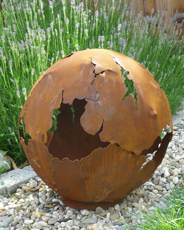 Riss Kugel 30cm /Ø Edelrost Rost Gartendeko Dekokugel Garten Metall Weltkugel Kugel mit Rissen Feuerkugel