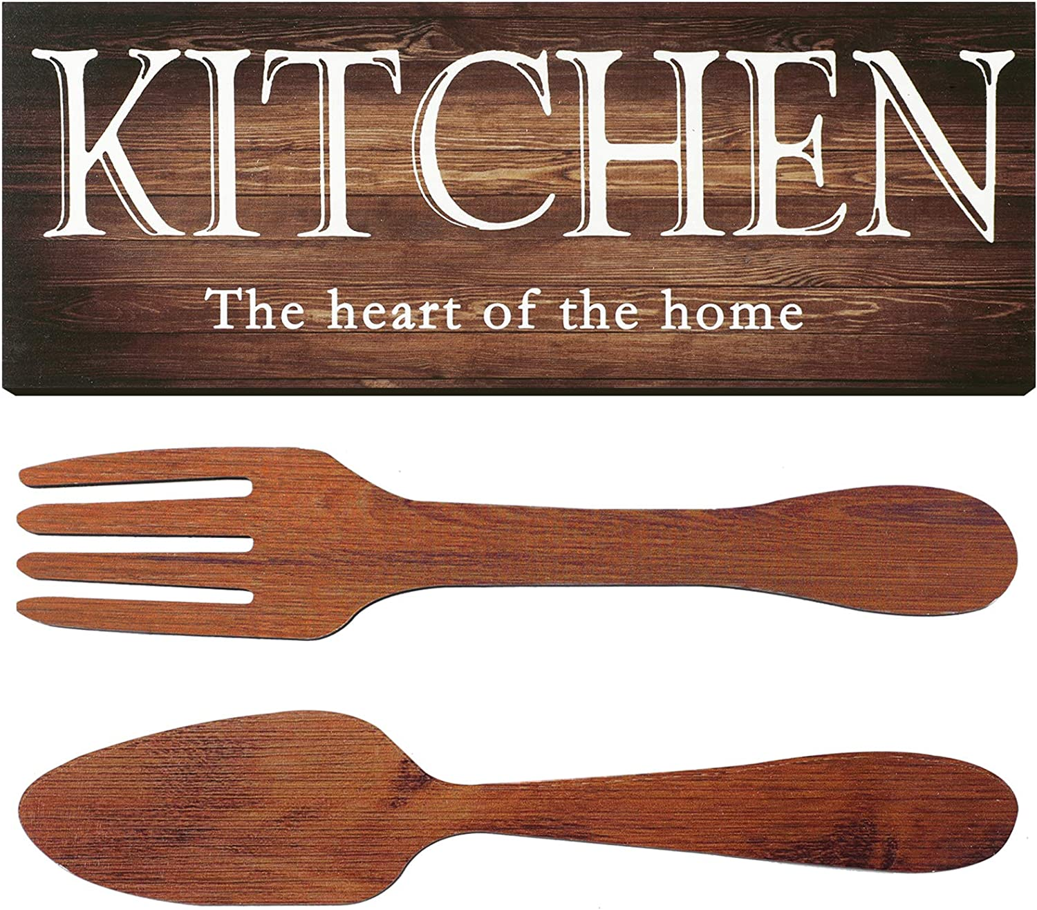 Kitchen Sign Set, Fork and Spoon Wall Decor Kitchen The Heart of The Home Sign Wood Rustic Kitchen Decoration Farmhouse Kitchen Wall Decor for Home Dining Room Housewarming Kitchen Decor (Brown)