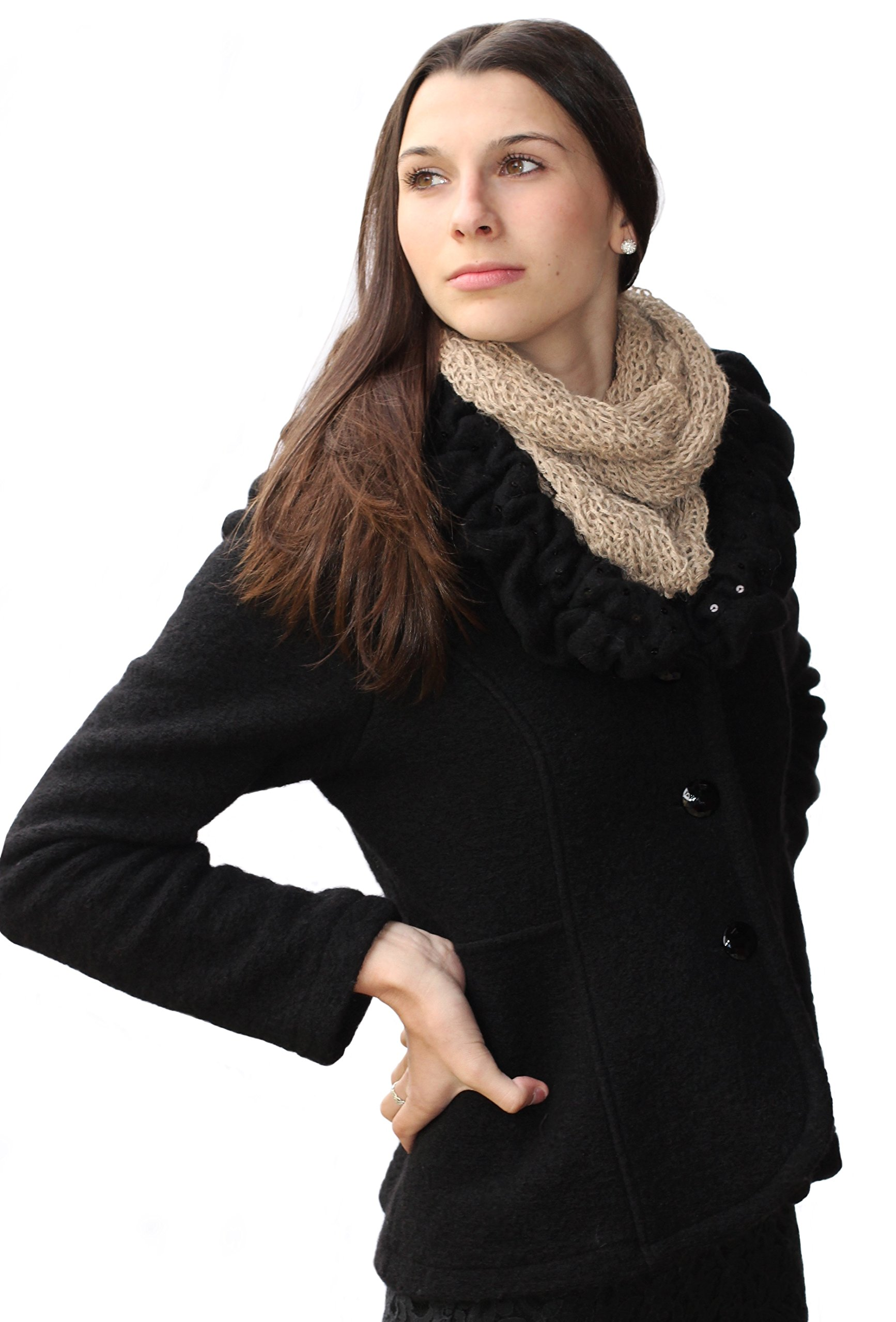 CLEARANCE - Knitted by Hand Soft PURE ALPACA Infinity Loop Scarf (SHIPS FROM FRANCE)