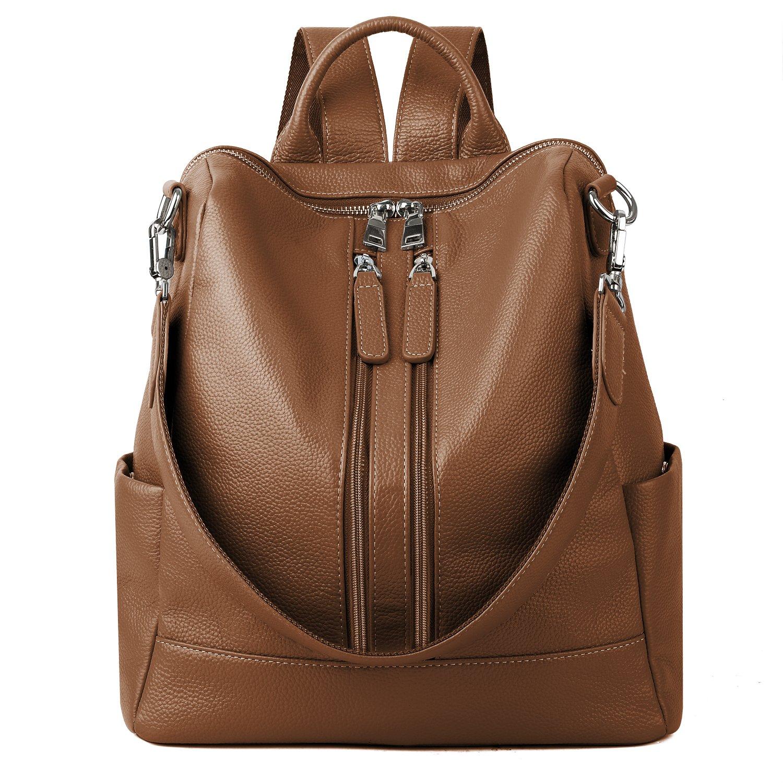 YALUXE Women's Convertible Real Leather Backpack Versatile Shoulder Bag (Upgraded 3.0) brown