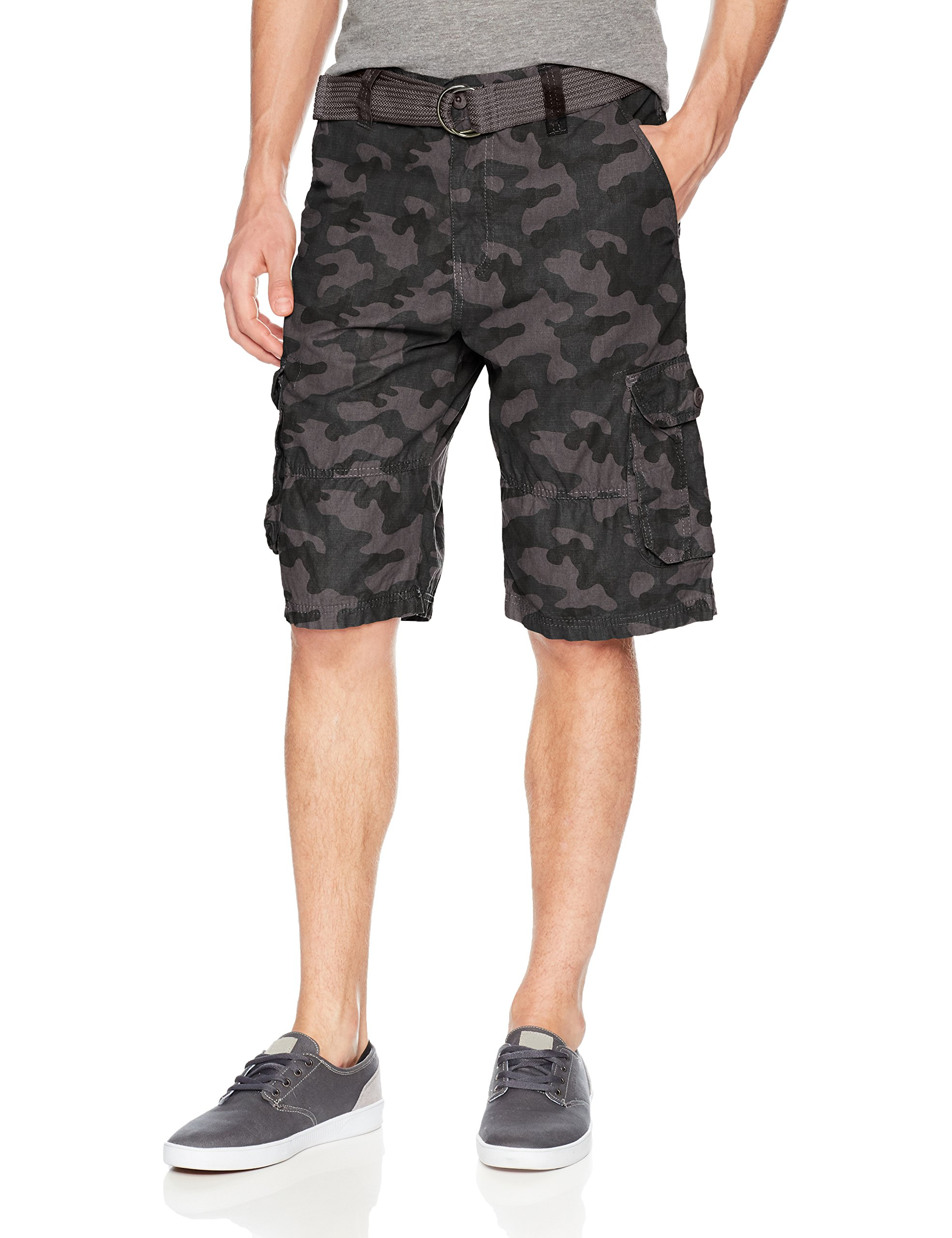 3ecb3caf42 Southpole Men's All-Season Belted Ripstop Basic Cargo Short, Grey  Black/New, 34