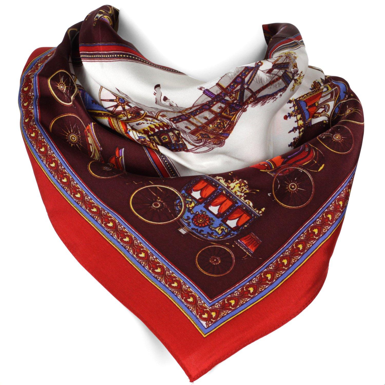 Paisley - Elegant Luxurious 100% Silk Scarf - Red - 22 x 22 Inch Evolatree 16-052-0008