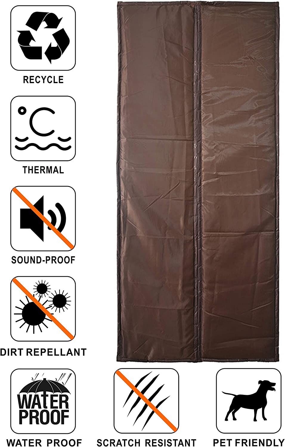 Liveinu Isolant Thermique Isolation Porte Avec Magn/étique Moustiquaire Rideau De Porte Isolant Coton Rideau doccultation Coupe-vent Imperm/éable Isolation Phonique 70x200cm Marr/ón