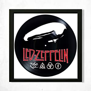 """Led Zeppelin Vinyl Frame Décor 14""""x14"""", Wall Framed Decor Painted Led Zeppelin, Original Gifts for Music Lovers, Original Gift for Home Decor"""