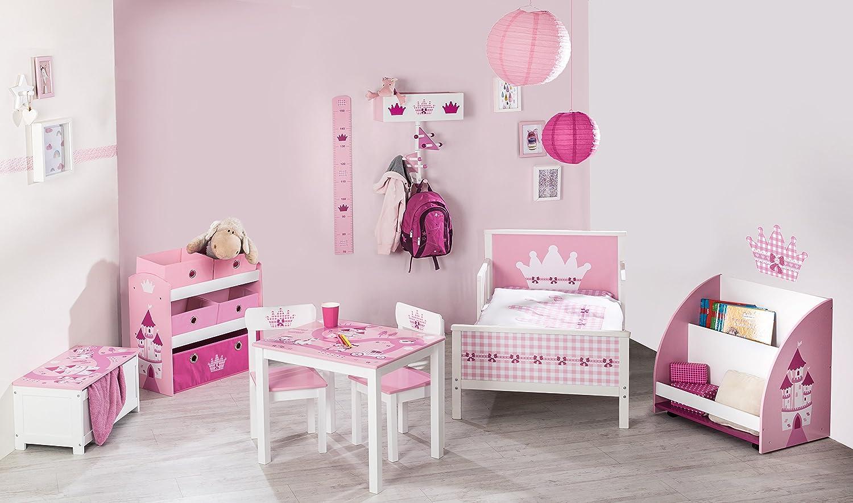 Kinderm/öbel Set aus 2 Kinderst/ühlen /& 1 Tisch Sitzgarnitur mit Prinzessin//Schlo/ß//Einhorn Bedruckung in rosa roba Kinder Sitzgruppe Krone
